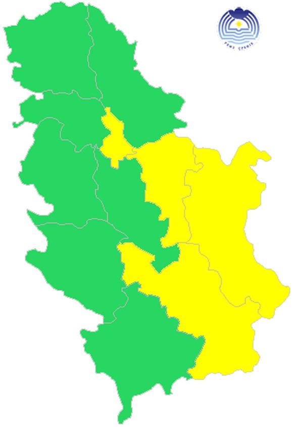 Žuti meteolaram u Beogradu, Pomoravlju, istočnoj i jugoistočnoj Srbiji