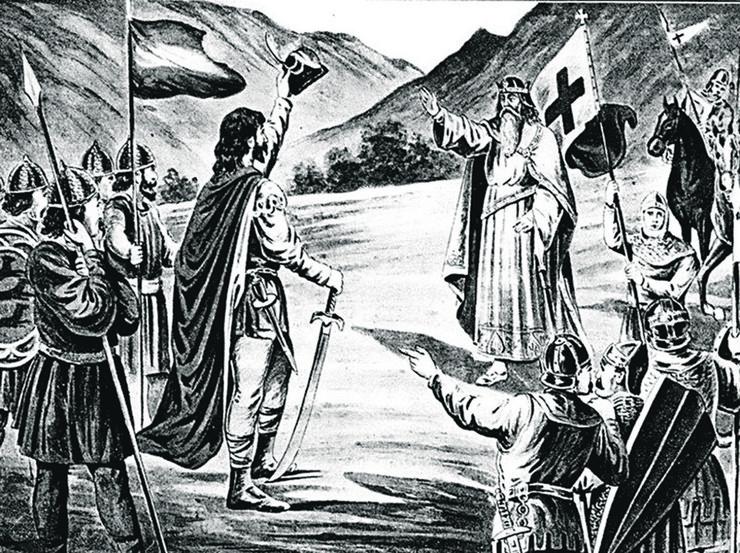 Susret Stefana Nemanje i Fridriha I Barbarose, litografija Koste Mandrovića, kraj 19 veka