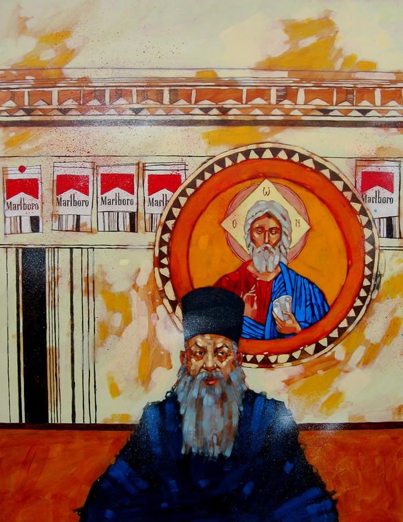 """""""Ojciec Gavrilo"""" - obraz namalowany przez Przemka Kosakowskiego"""
