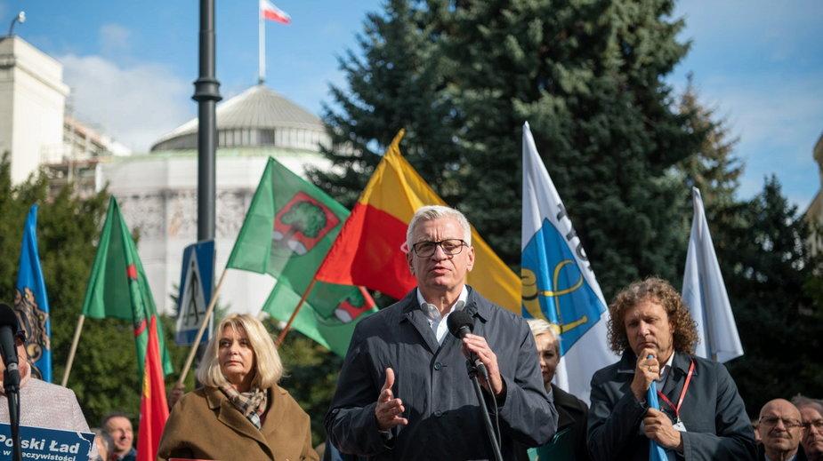 Jacek Jaśkowiak wziął udział w proteście samorządów w Warszawie  fot. E. Lach/UM Warszawa
