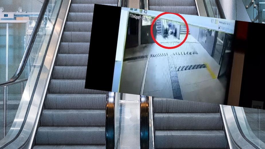 Poznań. Kobieta spadła z ruchomych schodów razem z wózkiem [NAGRANIE]