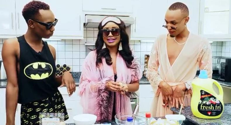 Anita Nderu causes hullabaloo with a sneak peek of her cooking show as she hosts two gay men