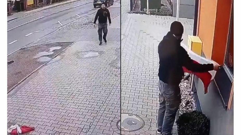 Polska flaga leżała w kałuży. Kierowca nie pozostał obojętny [NAGRANIE]