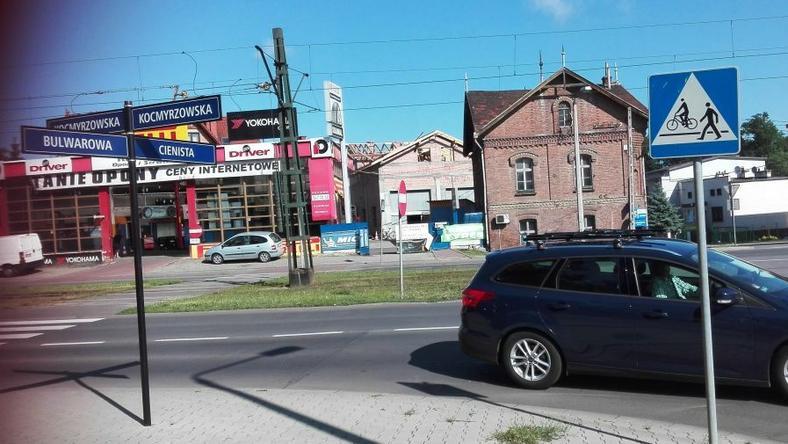 Skrzyżowanie ulic Kocmyrzowskiej, Bulwarowej i Cienistej