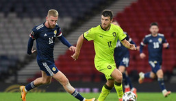 Banned: Czech Republic's defender Ondrej Kudela (right) will miss Euro 2020 due to a 10-match UEFA ban for racially abusing Rangers and Finland midfielder Glen Kamara Creator: ANDY BUCHANAN