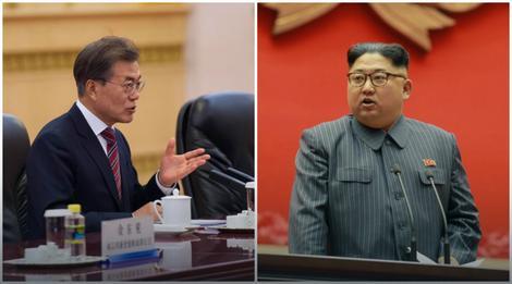 Južnokorejski i severnokorejski predsednici Mun Džae In i Kim Džong Un