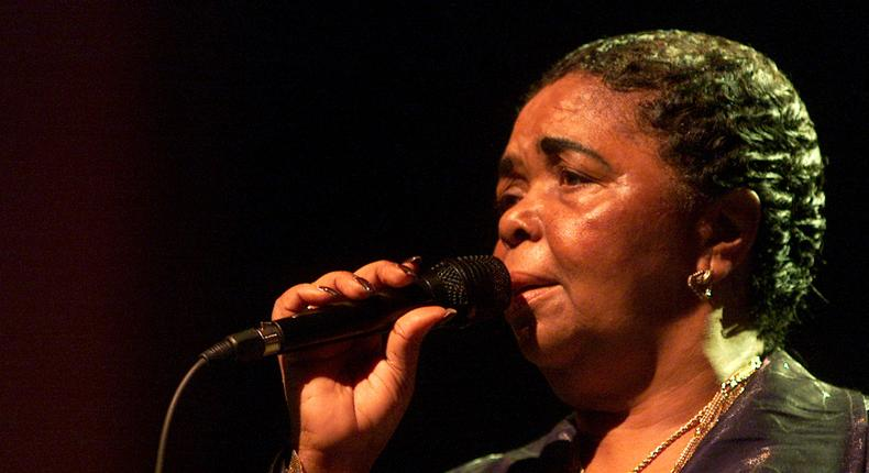 World famous vocal singer Cesaria Evora performs during a concert promoting her Grammy award-winning album Voz D'Amor in Romania's capital in Bucharest June 29, 2004.