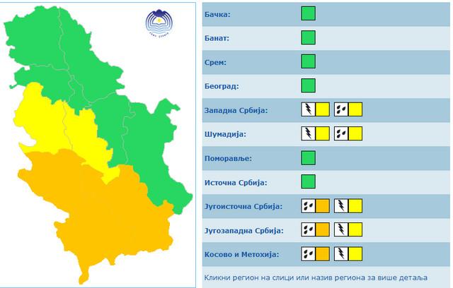 Na jugu i jugozapadu Srbije žuti i narandžasti meteo alarm