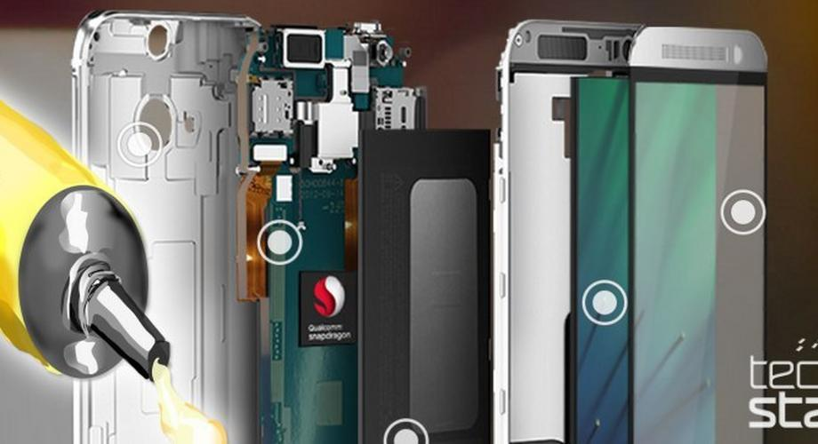 HTC One besteht aus Metall, Glas und ... Kleber