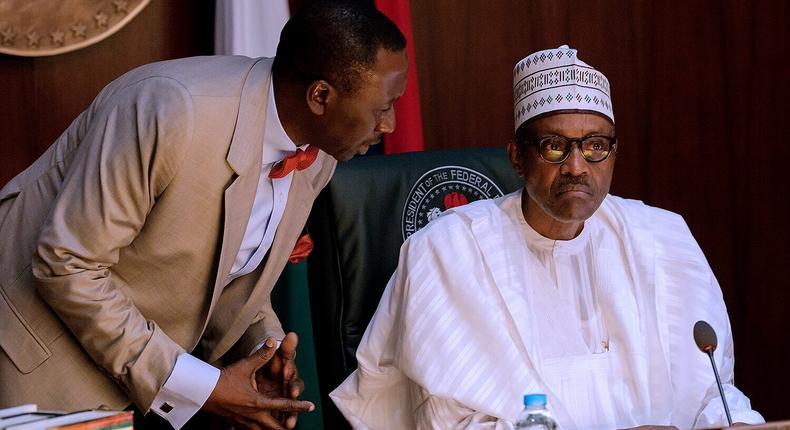 President Muhammadu Buhari with National Security Adviser Babagana Monguno.