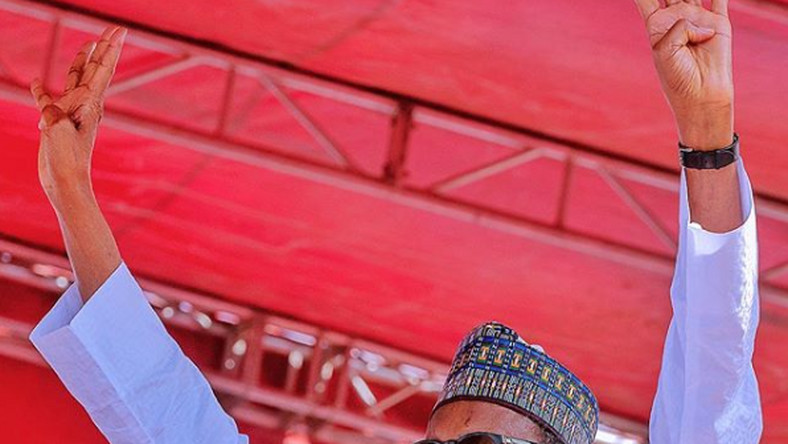 President Muhammadu Buhari on the campaign trail [Bayo Omoboriowo]