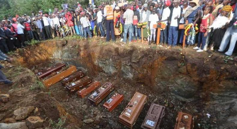 Solai dam victims being buried