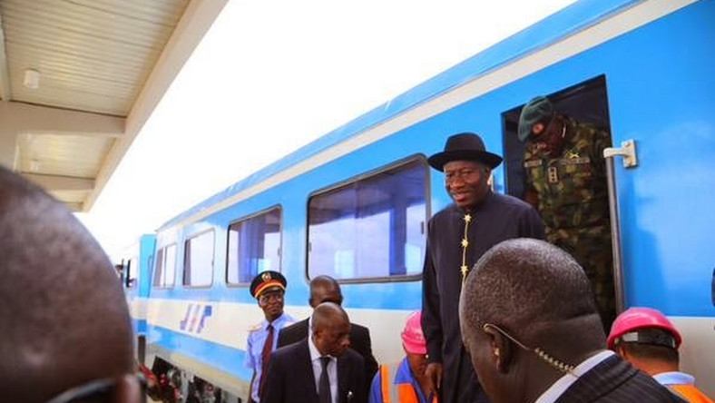 President Jonathan inspects the Abuja rail project on Thursday, May 7.
