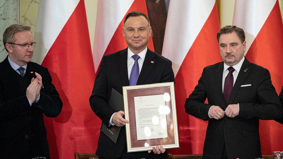 Krzysztof Szczerski, Andrzej Duda i Piotr Duda podczas spotkania z okazji 40-lecia Solidarności