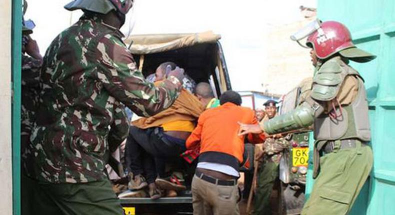 Kenyan police during a past arrest.