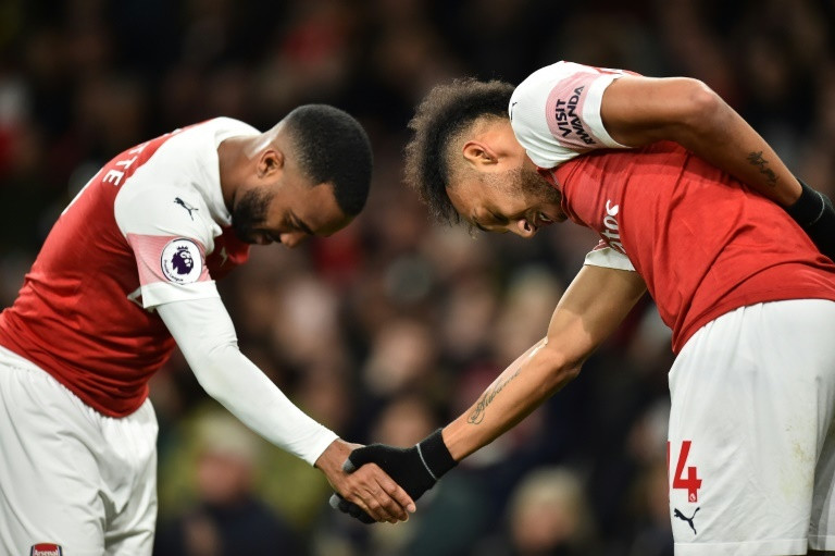 Arsenal players, Alexandre Lacazette (left) and Pierre-Emerick Aubameyang (right)