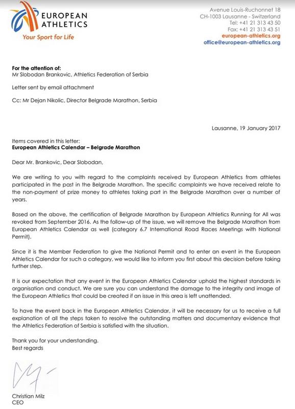 Drugi dopis iz sedišta IAAF koji je stigao 19. januara 2017.