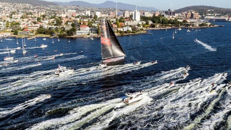Australia's Wild Oats XI approaches the finish line of the Sydney to Hobart race, taking its ninth line honours in the gruelling competition