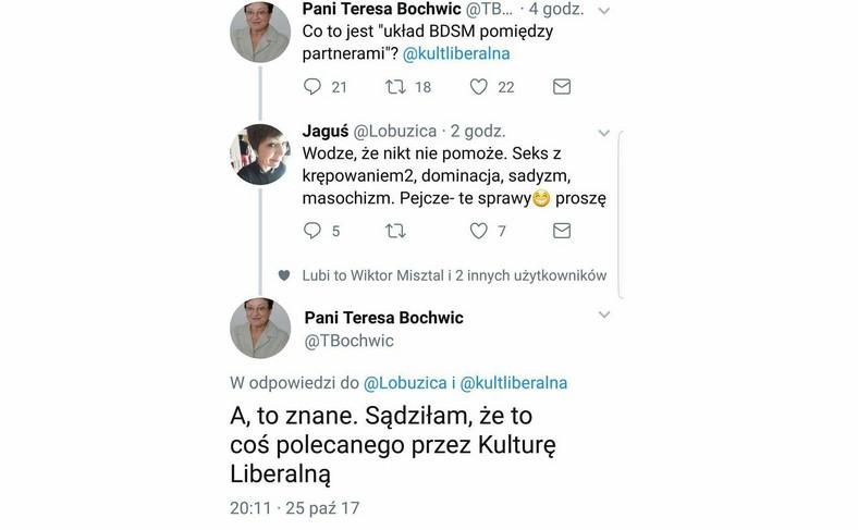 Tweet Teresy Bochwic