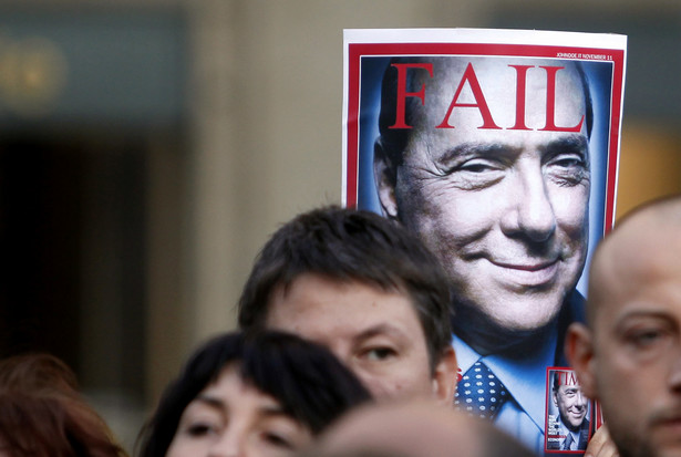 Protest przeciwko Silvio Berlusconiemu