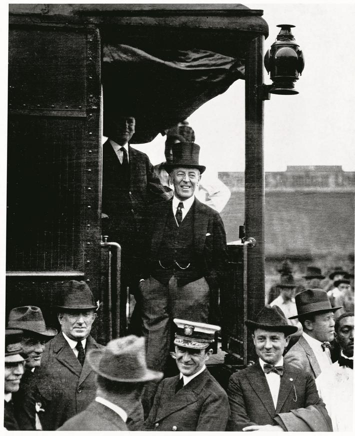 Predsident Wilson on the Steps of a Train