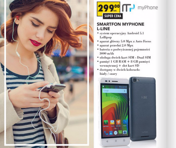 MyPhone L-line - tani smartfon z Biedronki