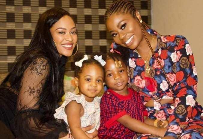 Davido's daughters, Hailey and Imade, with their mothers Amanda and Sophia. [Instagram/celebritiesmediagist]