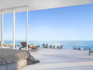 3d rendering luxury villa bedroom near beach