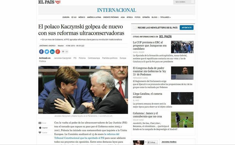 """""""El Pais"""" o Jarosławie Kaczyńskim i PiS"""