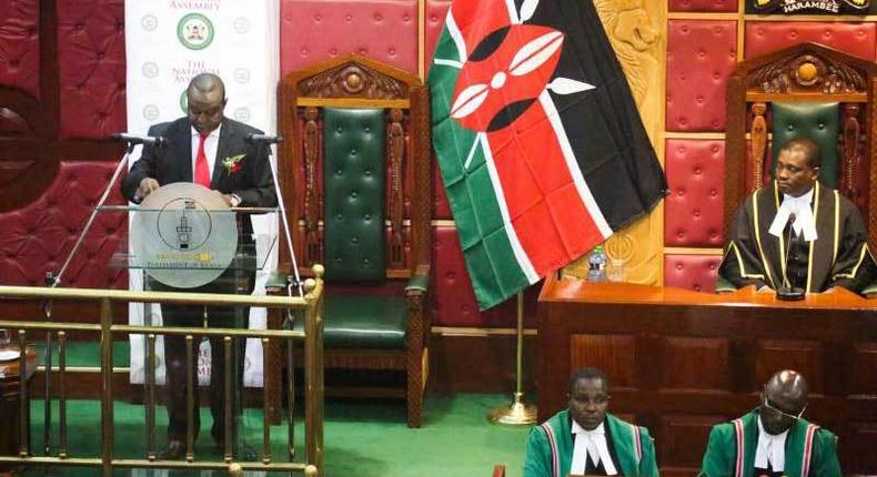 Treasury Cs Henry Rotich reading the budget in Parliament