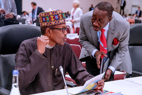 President Muhammadu Buhari with his National Security Adviser, Babagana Monguno [Presidency]