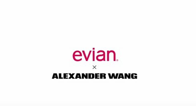 The Evian X Alexander Wang limited edition bottles has the designer's signature barcode stamped on the glass