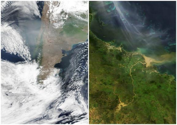 Dim od požara i poplave na satelitskim slikama