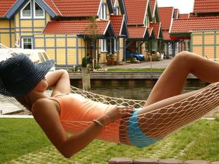 Young woman in the hammock