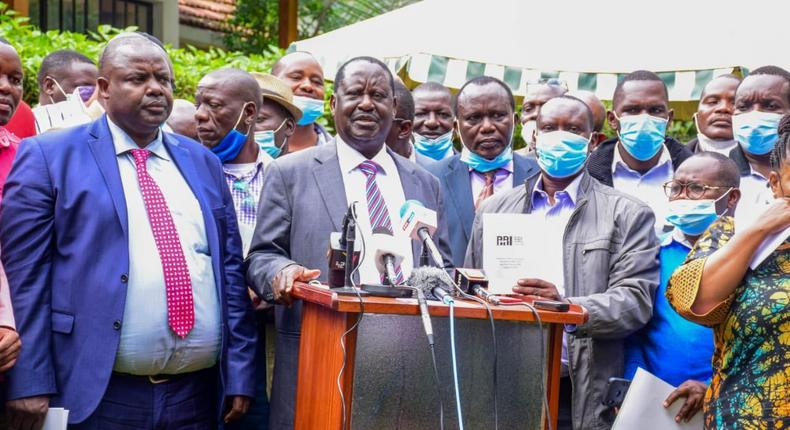 ODM party leader Raila Odinga following a meeting with party leaders in Nairobi