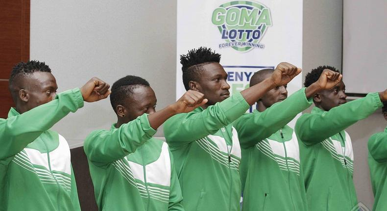 Gor Mahia's new signings during their unveiling in Nairobi before the start of the new season.