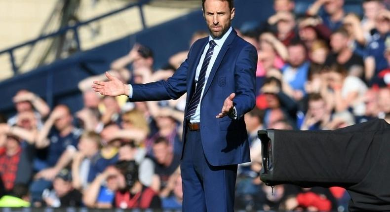 England's manager Gareth Southgate gestures on the touchline during their 2018 World Cup qualifying Group F match against Scotland, at Hampden Park in Glasgow, on June 10, 2017