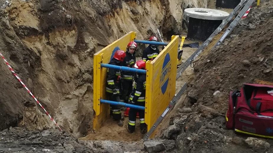 Wypadek na budowie przy 6 sierpnia w Łodzi