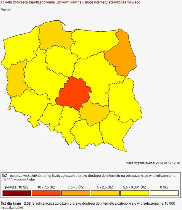 Mapa zapotrzebowania na internet - źródło: UKE