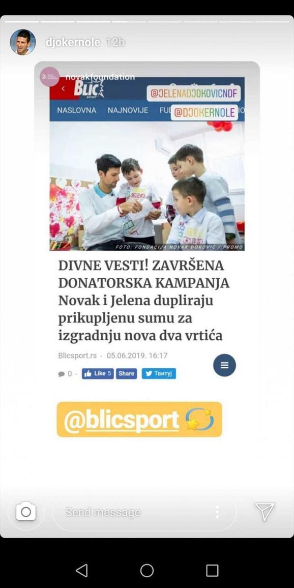 Đokovićeva zahvalnica redakciji Blicsporta