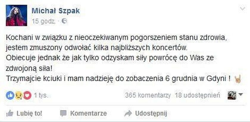 Michał Szpak odwołuje koncerty!