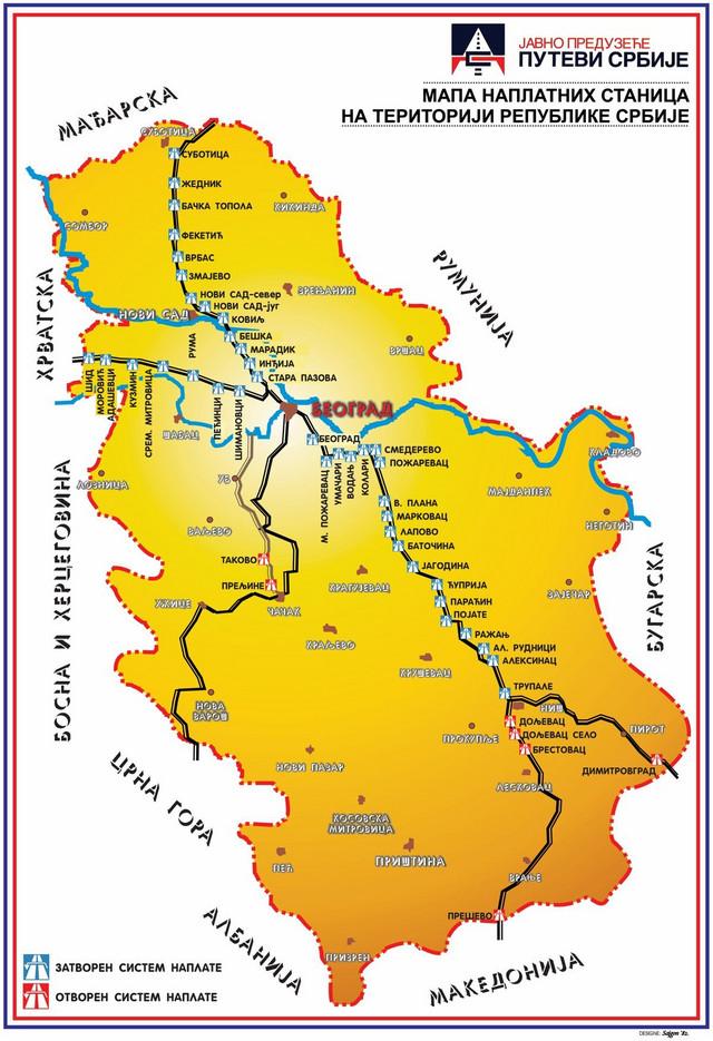 Mapa naplatnih stanica u Srbiji