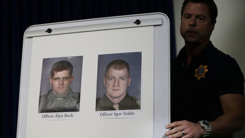 Portrety dwóch oficerów policji zastrzelonych w Las Vegas