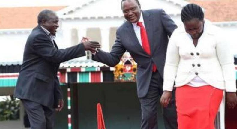 President Kenyatta with Former Kibwezi MP and Tip Tip Party leader Kalembe Ndile