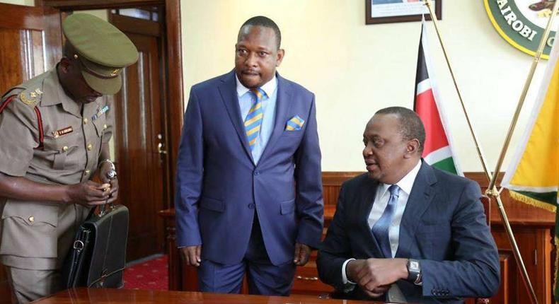 President Kenyatta with Governor Mike Sonko at City Hall