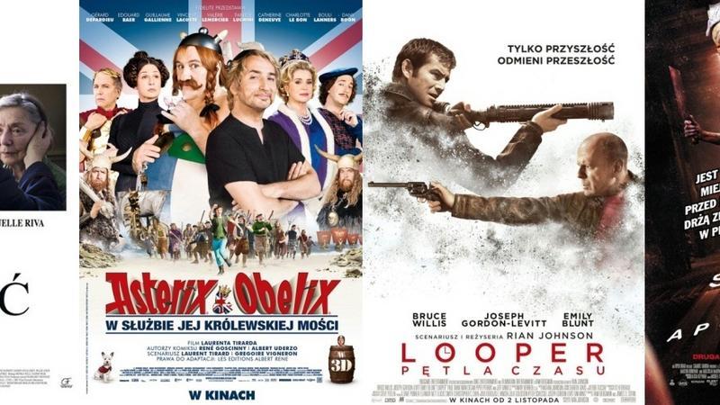 """Plakaty do filmów """"Miłość"""", """"Asterix i Obelix: W służbie Jej Królewskiej Mości"""", """"Looper - Pętla czasu"""" i """"Silent Hill: Apokalipsa 3D"""""""