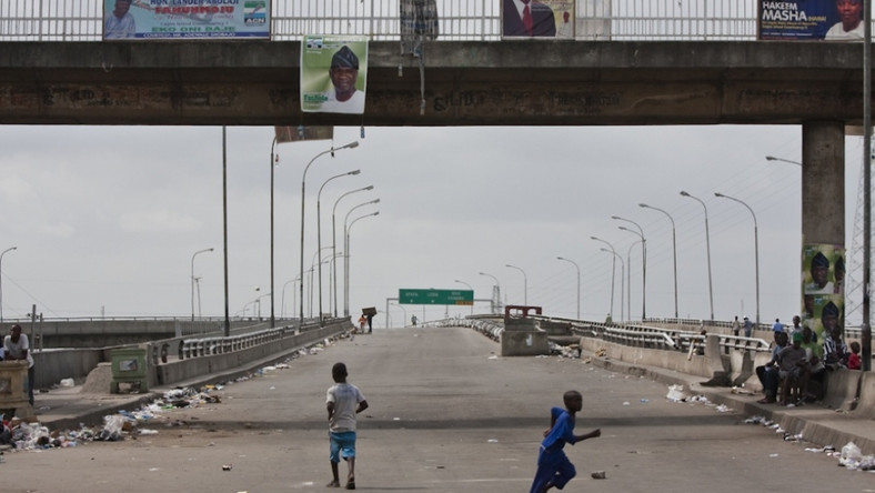 Children playing on a highway in Lagos [Public Radio]