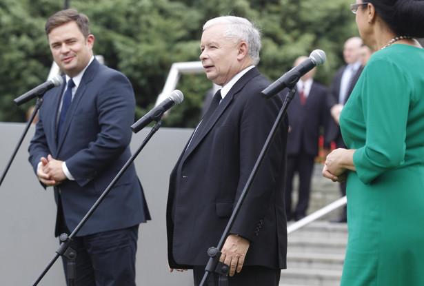 Jarosław Kaczyński w Rybniku. fot. PAP/Andrzej Grygiel