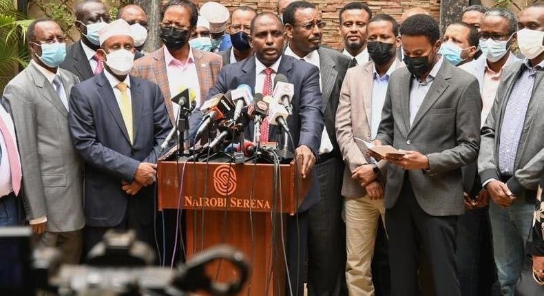 Treasury Cabinet Secretary Ukur Yatani with fellow politicians from the North Eastern region during a recent press address