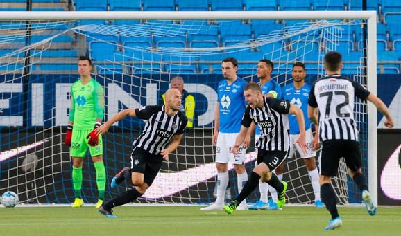 Nemanja Miletić slavi pogodak za ulazak u Ligu Evropu